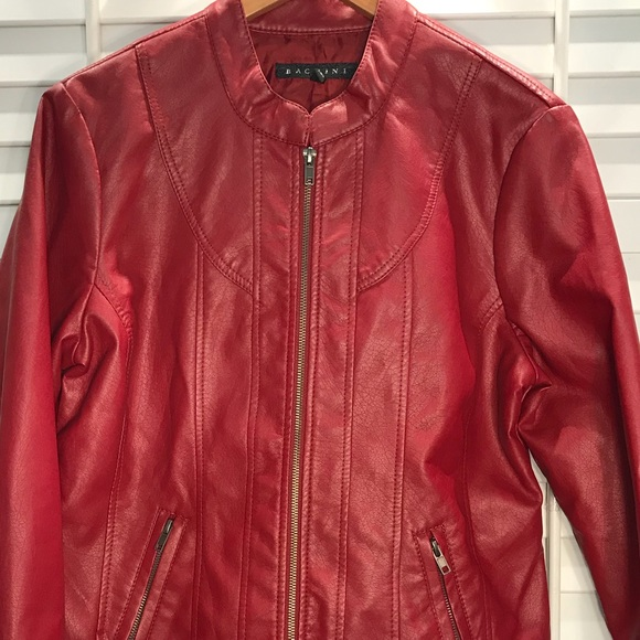600c39bf4 Baccini faux leather jacket size large
